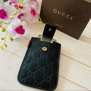 AUTHENTIC Gucci Embossed GG Black Leather